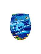 Сиденье для унитаза Фотопринт Дельфины, 450x370мм, пластиковое