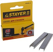 Скобы STAYER Standart для степлера, тип 53, 6мм, тонкие, упаковка 1000шт