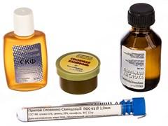 Набор для пайки № 2 60622: припой ПОС-61 с канифолью, канифоль сосновая, кислота паяльная, флюс СКФ
