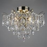Люстра подвесная 4-рожковая E1667/4+4, 4х40W, E27+4x3W LED, диаметр 50ммм, высота 40мм, ПД, QH19, AB бронза/хрусталь