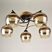 Люстра подвесная 5-рожковая 1398/5, 5х40W, E27, диаметр 560мм, высота 230мм, KLD20, CG+BK золото/черный