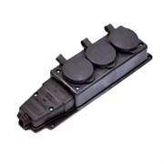Колодка штепсельная NE-AD 4004, тройная, открытой проводки ОУ, 2P+РE, 1x16А, 220-240В, IP44, с заглушкой, каучук