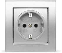 Розетка одноместная СП Бриллиант UNIVersal, с заземлением, серебро
