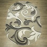 Ковер Фиеста 34107-36955 60х110см, овальный , серо-бело-черный с рисунком