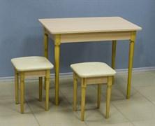 Стол обеденный Дачный, 900x600x740мм, ЛДСП 16мм, резная опора, молочный дуб