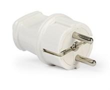 Вилка электрическая SmartBuy SBE-16-P01-w, 16А, 250В, с заземлением, прямая, белая