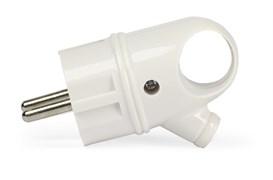 Вилка электрическая SmartBuy SBE-16-P03-w, 16А, 250В, угловая с ушком, с заземлением, белая
