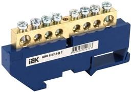 """Шина """"N"""" нулевая IEK YNN10-812-8D-K07, на DIN-изоляторе ШНИ-8х12-8-Д-С, 8 групп"""