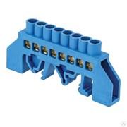 Шина нулевая ЕКF sn0-63-08 на DIN-рейку N, 6x9мм, 8 отверстий, синий изолятор, латунь