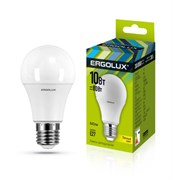 Лампа светодиодная Ergolux LED-A60-10W-E27-3K, ЛОН, 10Вт, 180-240В, Е27