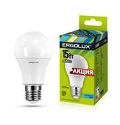 Лампа светодиодная Ergolux LED-A60-15W-E27-4K, ЛОН, 15Вт, 180-240В, Е27