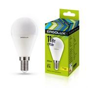 Лампа светодиодная Ergolux LED-G45-11W-E14-3K, 11Вт, 180-240В, шар, Е14