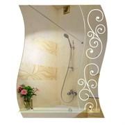 Зеркало фигурное с матированным рисунком САНАКС 45603, 560х680мм, полка 500мм, комбинированоое
