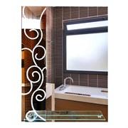 Зеркало фигурное с матированным рисунком САНАКС 45610, 600х800мм, полка 500мм, комбинированоое