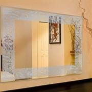 Зеркало прямоугольное с перфорированным серебряным узором САНАКС 46802, 518х730мм, с универсальным креплением к стене