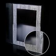Зеркало прямоугольное с перфорированным серебряным узором САНАКС 46810, 518х730мм, полка 500мм с универсальным креплением к стене