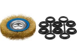 Щетка дисковая Зубр 35186-125 для точильно-шлифовального станка, 125x32мм, витая стальная латунированная проволока 0.3мм