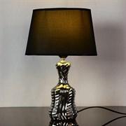 Настольная лампа DS-TL3531BS, высота 330мм, 1х60W, E27, серебро/черный абажур