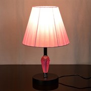 Настольная лампа 2047+137, высота 350мм, 1х60W, E27, черный/розовый абажур