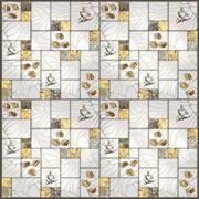 Панель-фартук ПВХ Мозаика 2 квадрата кофе золото, 595х595мм, толщина 0.3мм