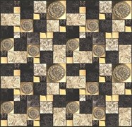 Панель-фартук ПВХ Мозаика 2 квадрата поталь, 595х595мм, толщина 0.3мм