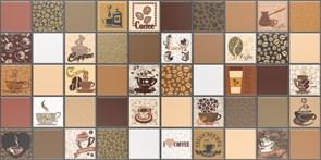 Панель-фартук ПВХ Мозаика Кофе с молоком 222кмк, 488х955мм, толщина 0.3мм, коричневый