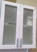Шкаф кухонный навесной 600x330x720мм, 2 двери со стеклом, МДФ, белый, коллекция Радуга