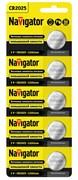 Батарейка Navigator 94764 NBT-CR2025-BP5, литиевая, дисковая, плоская