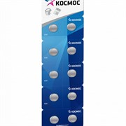 "Батарейка для часов Космос KOCG12 AG-12 LR43 10BL, алкалиновая/щелочная, плоская ""таблетка"""