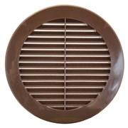 Решетка вентиляционная Awenta TRU-13, диаметр 100мм, с жалюзи, пластиковая, коричневая