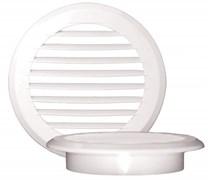 Решетка вентиляционная EVENT ПКР145/100, диаметр 100мм, с фланцем, с жалюзи, круглая, пластиковая, белая