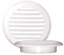 Решетка вентиляционная EVENT ПКР195/150, диаметр 150мм, с фланцем, с жалюзи, круглая, пластиковая, белая