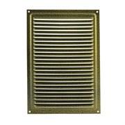 Решетка вентиляционная 160х230мм, с жалюзи, с антимоскитной сеткой, металлическая, старая бронза