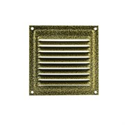 Решетка вентиляционная 150х150мм, с жалюзи, с антимоскитной сеткой, металлическая, старая бронза