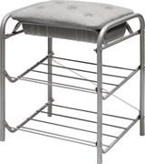 Банкетка/подставка напольная Nika БП2/С, 440x516x330мм, 2 полки, разборная, мягкое сиденье ткань, не более 100кг, металл, серый
