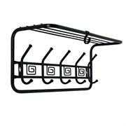 Вешалка настенная Ажур ВСПА202БС с полкой, 600x220x265мм, 5 крючков, металл, черная