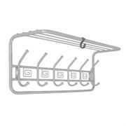 Вешалка настенная Ажур ВСПА203БС с полкой, 725x220x263мм, 6 крючков, металл, белое серебро
