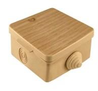 Коробка распределительная/распаячная TDM 1401-0711, 65x65x50мм, IP54, открытой проводки ОП, 4 входа, квадратная, с крышкой сосна