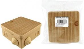 Коробка распределительная/распаячная TDM 1401-0712, 80x80x50мм, IP54, открытой проводки ОП, 7 входов, квадратная, крышка сосна