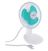 Вентилятор настольный Energy EN-0603, диаметр 15см, 15Вт, с наклоном, 2 скорости, белый с зеленым