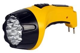 Фонарь ручной Smartbuy  SBF-90-Y, аккумуляторный 4В 0.8 Ah, 100Лм, 1 светодиод 1Вт, 4 режима работы, встроенная вилка, 220В, желтый