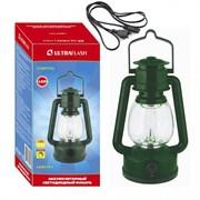 Фонарь для кемпинга Ultraflast SLA 12099 LED 5161, аккумуляторный 4В 0.8Ah, 60Лм, 3 светодиода, диммер, кабель 220В, зелёный