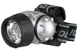 Фонарь налобный Ultraflast 10262 LED 5353, 3 элемента питания R03, 19 светодиодов, 42Лм, с поворотным отражателем, 4 режима, серебристый