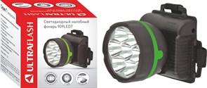 Фонарь налобный Ultraflast 11782 LED 909, 3 элемента питания R6, 7 светодиодов, 18Лм, черный