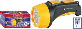 Фонарь ручной Ultraflast 12868 LED 3807М, аккумуляторный, 7 светодиодов, 25Лм, 2 режима, желтый