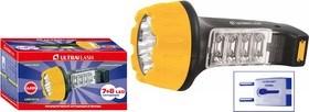 Фонарь ручной Ultraflast 10973 LED 3818, аккумуляторный 4В 0.7Ah, 25Лм, 15 светодиодов, 2 режима, встроенная вилка, 220В, желтый