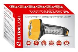 Фонарь ручной Ultraflast 10974 LED 3819, аккумуляторный 4В 0.7Ah, 55Лм, 25 светодиодов, 2 режима, встроенная вилка, 220В, черный