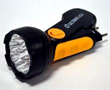 Фонарь ручной Ultraflast 10794 LED 3816, аккумуляторный 4В 0.7Ah, 35Лм, 9 светодиодов, встроенная вилка, 220В, черный
