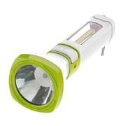 Фонарь ручной КОСМОС KOCAc7035W LED, аккумуляторный 4В 0.9Ah, с зарядным устройством, 1 светодиод 5Вт, 1 светодиод 3Вт в боковой панели, 200Лм, 3 режима, с зарядным устройством, бело-зеленый