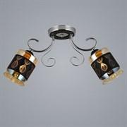 Люстра подвесная 2-рожковая 06317/2, 2x40W, E27, длина 520мм, высота 230мм, GAN20, CR+BK хром/черный
